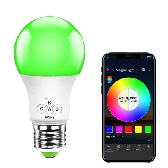 SS WFB RGBW 4.5W A19 A60 smart led bulb wifi color changing1